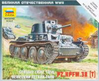 German Pz.Kpfw.38(t) Light Tank (Snap Kit) 1/100 Zvezda