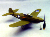 "P-39 Rubber Pwd Aircraft Laser Cut Kit 18"" Wingspan Dumas"