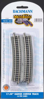 "17-1/2"" Radius Curved Nickel Silver Track (6/Cd) N Bachmann Trains"