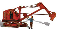 HO Autoscene Backhoe w/Figures Woodland Scenics