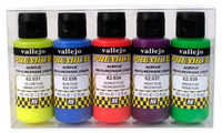 60ml Bottle Fluorescent Premium Paint Set (5 Colors) Vallejo