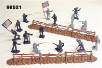 54mm Gettsyburg Fence & Union/Confederate Figure Playset 55pcs Playsets