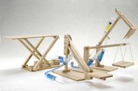 Hydraulic Machines 4 in 1 Wooden Kit Cherry Picker, Platform Lifter, Excavator, Scissor Lift Pathfinders