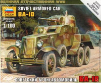 BA-10 Soviet Armored Car WWII (Snap Kit) 1/100 Zvezda