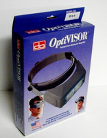 "OptiVisor Glass Lens Binocular Headband Magnifier w/Lens Plate 2x Power at 10"" Donegan Optical"