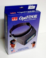 "OptiVisor Glass Lens Binocular Headband Magnifier w/Lens Plate 2-1/2x Power at 8"" Donegan Optical"