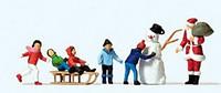 Santa, Snowman & Children (5) HO Preiser Models