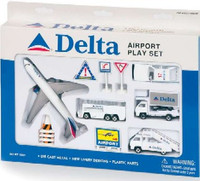 Delta Airlines Die Cast Playset (12pc Set) Real Toy