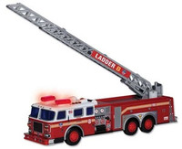 "FDNY Fire Ladder Truck w/Lights & Sound, 13"" Long (Plastic) Real Toy"