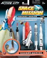 Space Shuttle & 4 Rockets Plastic Playset Real Toy