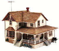 Built-N-Ready Corner Porch House HO Scale Woodland Scenics