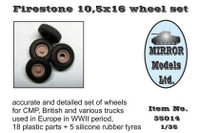 Firestone 10 5x16 Wheel/Tire Set for WWII CMP/British Trucks 1/35 Mirror Models
