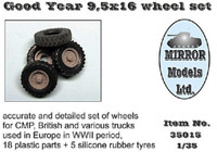Goodyear 9 5x16 Wheel/Tire Set for WWII CMP/British Trucks 1/35 Mirror Models