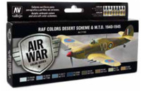 WWII RAF Desert Scheme & MTO 1940-1945 Model Air Paint Set (8 Colors) Vallejo Paint