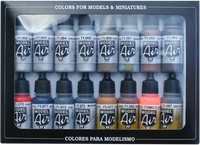 Metallics Model Air Paint Set (16 Colors) Vallejo Paint