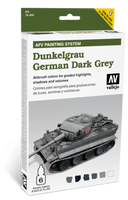 AFV German Dark Grey Paint Set (6 Colors) Vallejo Paint