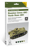 AFV Russian Green 4BO Paint Set (6 Colors) Vallejo Paint