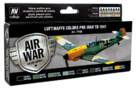 Luftwaffe Colors Pre-War to 1941 Model Air Paint Set (8 Colors) Vallejo Paint