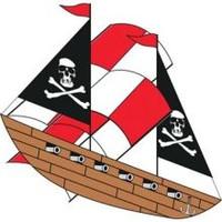 """42""""x 25"""" Pirate Ship 3-D Nylon Kite Gayla"""