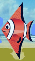 "52""x 28"" Clown Fish Designer Delta Kite Gayla"