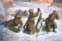 Soviet 82mm Mortar with Crew (4) Winter Uniform 1941-43 (Snap Kit) 1/72 Zvezda
