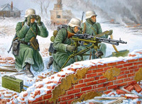 German MG-34 Machine Gun with Crew (3) Winter Uniform 1941-45 (Snap Kit) 1/72 Zvezda