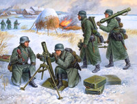 German 81mm Mortar with Crew (4) Winter Uniform 1941-45 (Snap Kit) 1/72 Zvezda