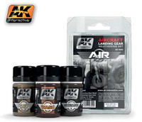 Aircraft Landing Gear Enamel Weathering Set (3 Colors) 35ml Bottles AK Interactive