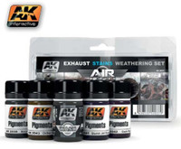 Exhaust Stains Weathering Set (4 Pigments & Enamel Exhaust Wash) 35ml Bottles AK Interactive