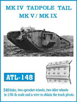 Mk IV Tadpole Tail, Mk V/IX Track Set (240 Links & 2 each Sprocket/Idler Wheels) 1/35 Fruilmodel