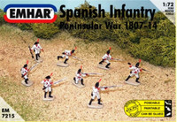 Peninsular War 1807-14 Spanish Infantry (48 Figures & 1 Horse) 1/72 Emhar