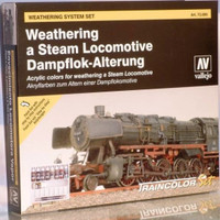 Weathering Steam Locomotive Model Color Wargames Paint Set (8 Colors w/30ml Matt Varnish) Vallejo Paint