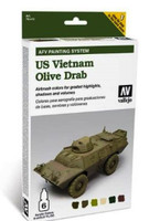 US Vietnam Olive Drab AFV Paint Set (6 Colors) Vallejo Paint