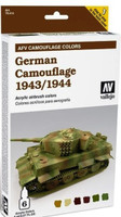 German Camouflage 1943-44 AFV Paint Set (6 Colors) Vallejo Paint