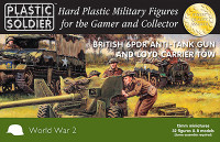 15mm WWII British 6-Pdr Anti-Tank Gun (4), Loyd Carrier Tow (4) and Crew (32) Plastic Soldier