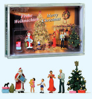 Family at Christmas w/ Santa and Gifts HO Scale Preiser