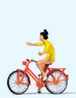 Woman Riding Bicycle w/ No Hands HO Scale Preiser