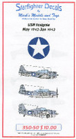 USN Insignia May 1942 to June 1943 for Merit 1/350 Starfighter Decals