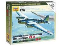 Soviet SB-2 High Speed Bomber (Snap Kit) 1/200 Zvezda