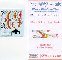 Star Trek: R-Type Warbirds Markings for 6 Ships Starfighter Decals