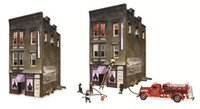 Built-N-Ready Betty's Burning Building HO Scale Woodland Scenics