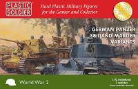 1/72 WWII German Panzer 38(t) Tank/Marder Variants (3) & Crew (30) 1/72 Plastic Soldier