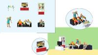 TV Living Room Furniture w/Family HO Scale Preiser
