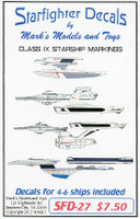 Star Trek: Class IX Starship Markings for 4 to 6 Ships Starfighter Decals