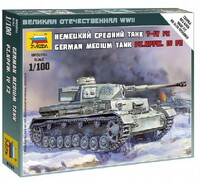German Pz.Kpfw.IV Ausf.F2 Medium Tank (Snap Kit) 1/100 Zvezda