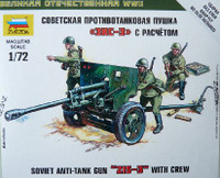 Soviet Zis-3 Anti-Tank Gun with Crew (3) (Snap Kit) 1/72 Zvezda