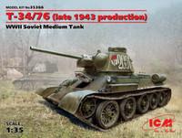 WWII T34/76 (Late 1943 Production) Soviet Medium Tank 1/35 ICM Models