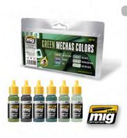 Green Mecha Colors Acrylic Paint Set Ammo of Mig Jimenez
