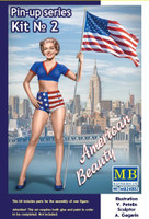 Betty American Beauty Pin-Up Girl Standing Holding American Flag 1/24 Masterbox