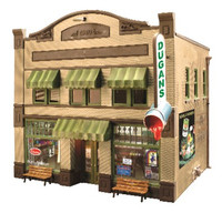 O Built-N-Ready Dugan's Paint 2-Story Building w/Installed LED Lighting O Scale Woodland Scenics